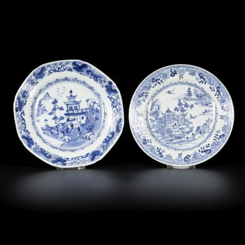 A lot comprised of (2) porcelain plates with river/pagoda decor, China, 18th cen…