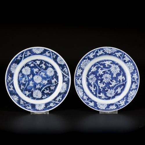 A set of (2) porcelain plates with lotus decoration in reversed technique, marke…