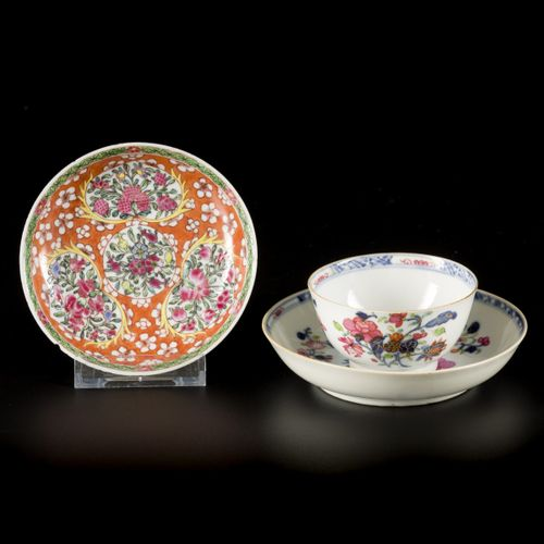 A porcelain cup and saucer, all with famille rose decoration, China, 18th centur…