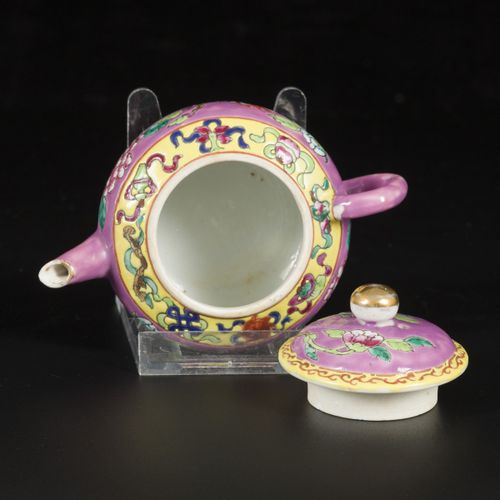 A porcelain famille rose teapot for the Straits or Peranakan market, China, 19th…