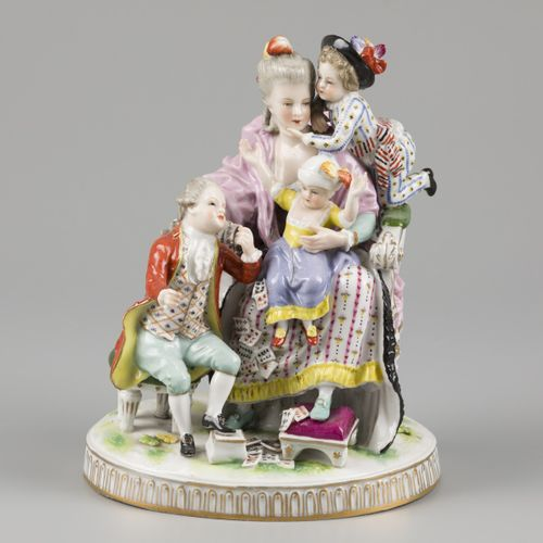 A porcelain group of a mother and child. Ludwigsburg, Germany, early, 20th centu…