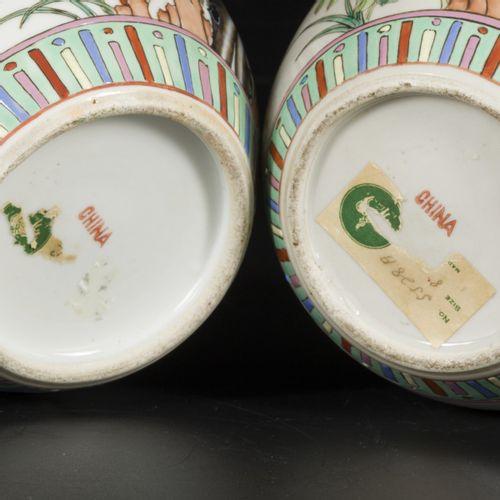 A set of (2) porcelain lidded jars with famille rose decor, China, 1st half 20th…