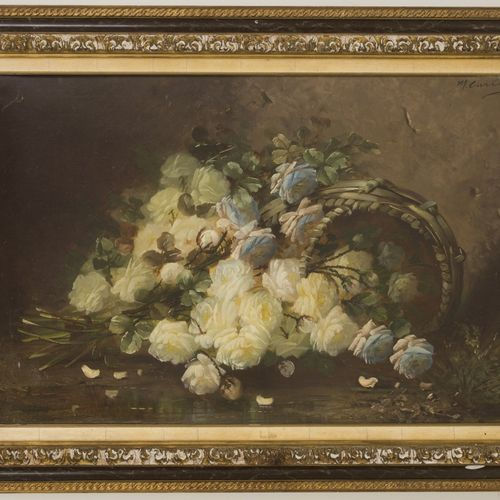 Max Albert Carlier (Belgian School, 1872 1938). A till life of roses in a wicker…