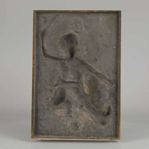 """A bronze plaquette of a dancing Cossack. 题词:。""""En souvenir d'unne / Journee Histo…"""