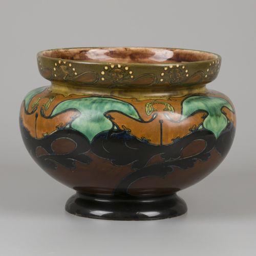 A earthenware cachepot with polychrome decoration, Rozenburg, The Hague, 1st hal…