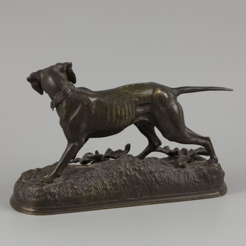 Jules Moigniez (1835 – 1894), a bronze statue of a hunting dog, France, 19th cen…