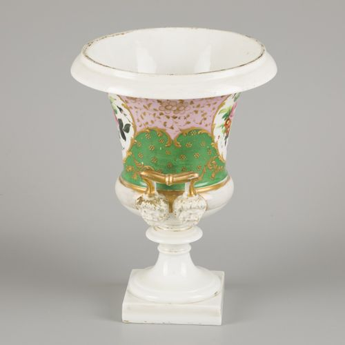 A porcelain ornamental vase decorated with flowers, France, 19th century. Dim. 3…