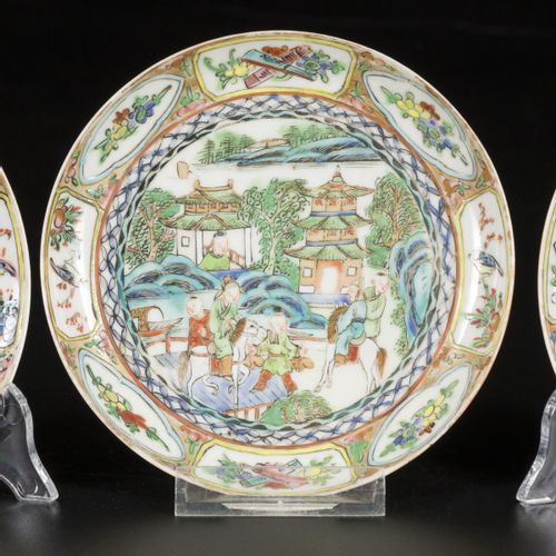 A set of (3) porcelain plates with decoration of Chinese figures in landscape in…
