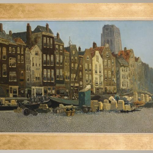 Chris Soer (Den Haag 1882 1961), View in Rotterdam with the St. Laurens tower sp…
