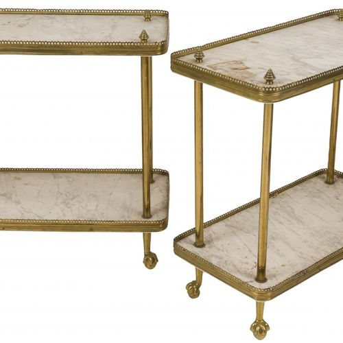 A set of (2) white marble side tables with brass fittings, 1st half 20th century…