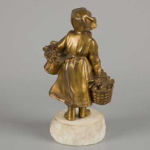 Affortunato Gory (XIX XX), A bronze 'chryselephantine' sculpture depicting a dan…
