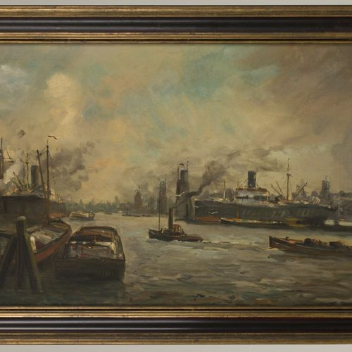 Willem van der Does (Rotterdam 1889 1966 Zeist), View of Rotterdam harbour with …