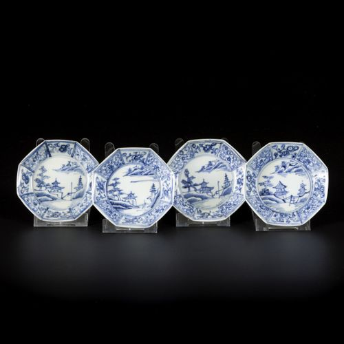 A lot comprised of (4) porcelain octagonal dishes with landscape decor, China, 1…