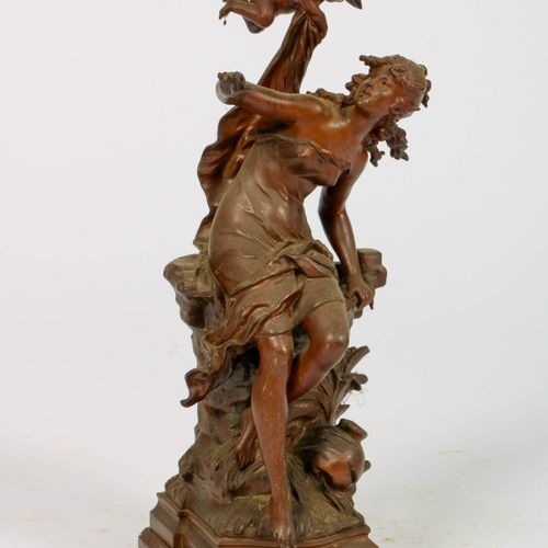 After Louis Auguste Moreau (1855 1919), A statue of a lady with an angel, 20th c…