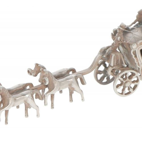 Miniature royal carriage with six horses in silver. Sehr detailliert. Niederland…