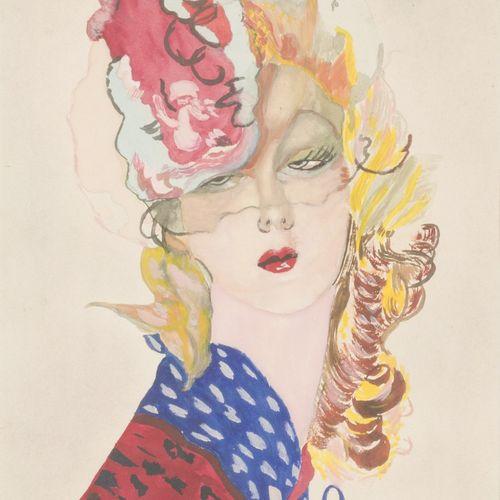 French School, 20th C. Portrait of an elegant lady. 混合媒体。