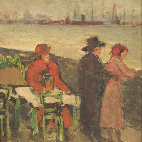 Dutch School, 20th C. A couple on the seaside. 油画。