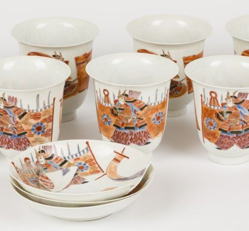 A lot of (13) eggshell porcelain cups and saucers, marked: Hirado, Japan, 1st qu…