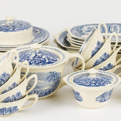 (33) piece service Petrus Regout Maastricht decor: Oriental blue Maastricht, Hol…