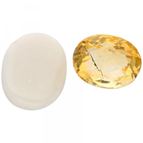 GLI Certified Natural Citrine Gemstone 3.00 ct. And GJSPC Certified Natural Opal…