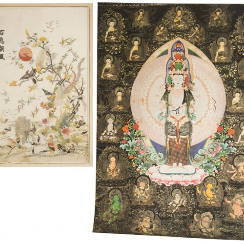 A lot comprising a framed embroidery together with a thankha depicting Guanyin, …