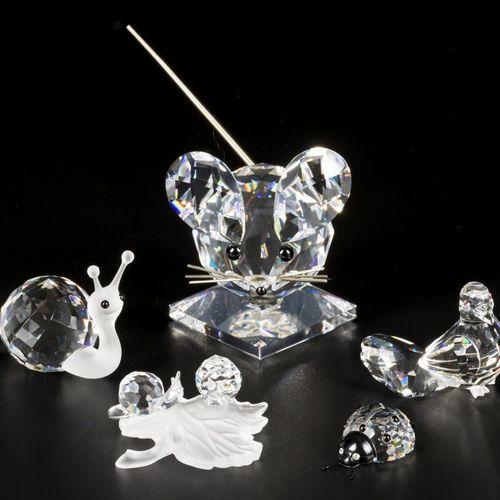 (5) Part lot Swarovski miniatures. Comprend un grand modèle de souris, une cocci…