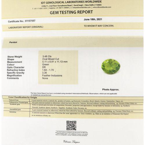 IDT Certified Natural Peridot Gemstone 3.48 ct. Schliff: Oval gemischt, Farbe: G…