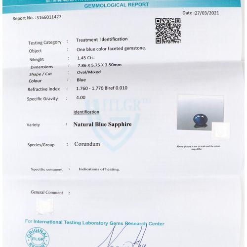 ITLGR Certified Natural Sapphire Gemstone 1.45 ct. Corte: Ovalada Mixta, Color: …