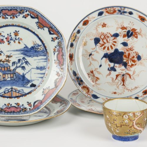 A lot of various porcelain including two plates with imari decoration and a Japa…