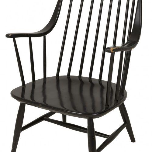 "A black painted wood Scandinavian design ""shaker style"" armchair, Denmark, 2nd h…"