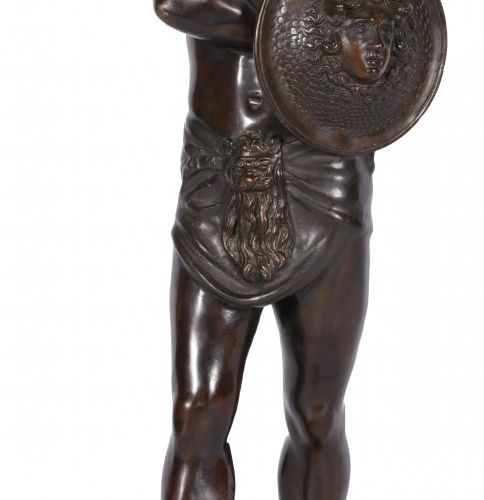 A bronze sculpture depicting Perseus, 1st half 20th century. 带头盔,美杜莎盾牌和皮围裙,安装在白石…