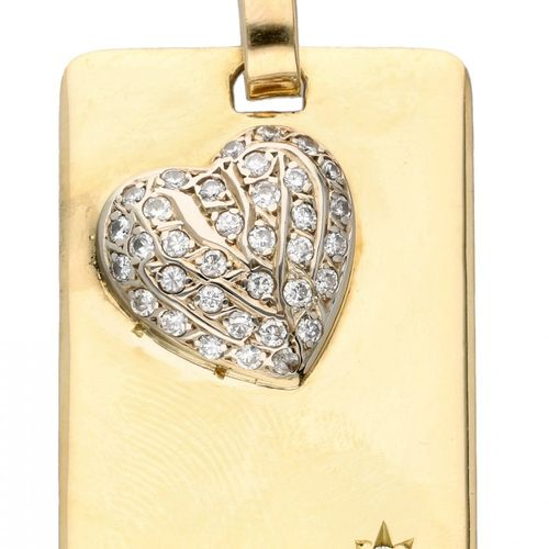 14K. Yellow gold vintage pendant with white gold heart set with approx. 0.38 ct.…