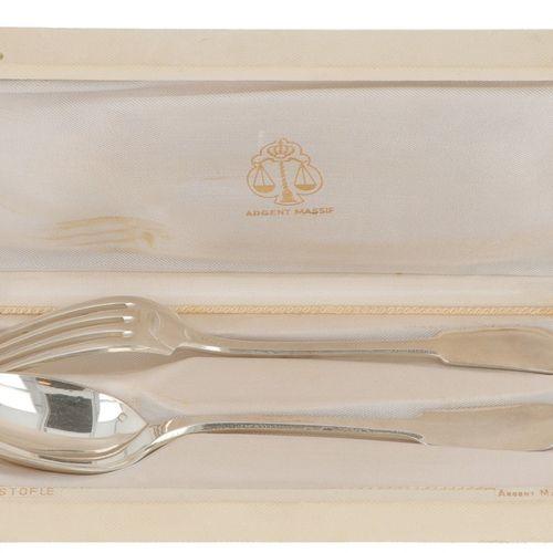 (2) piece cutlery set Christofle silver. Consta de una cuchara y un tenedor en e…