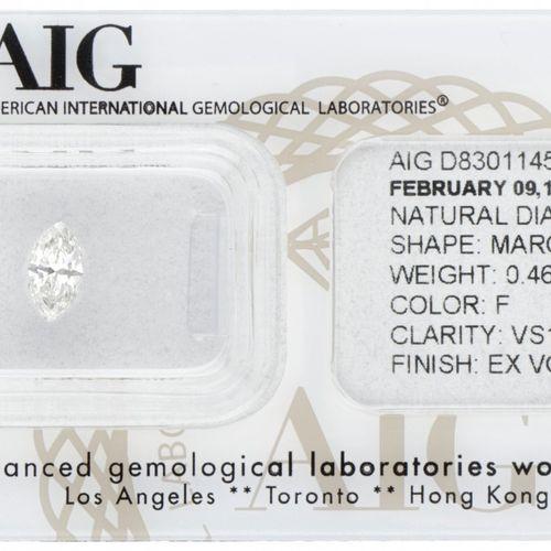 AIG Certified Marquise Cut Natural Diamond 0.46 ct. Gewicht: 0,46 ct (4,19 x 7,5…
