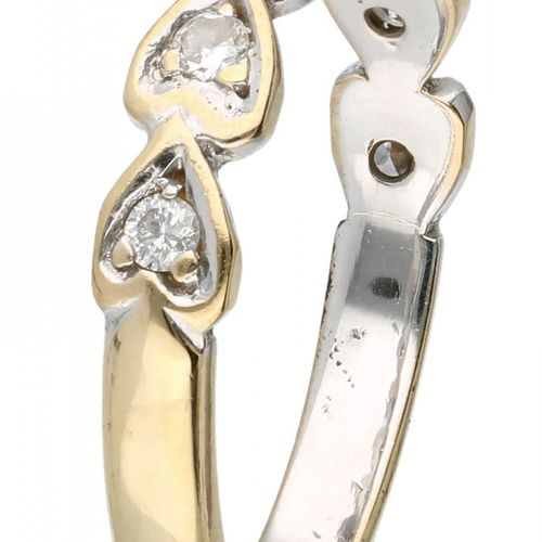 18K. Yellow gold ring set with approx. 0.14 ct. Diamond in heart shaped setting.…
