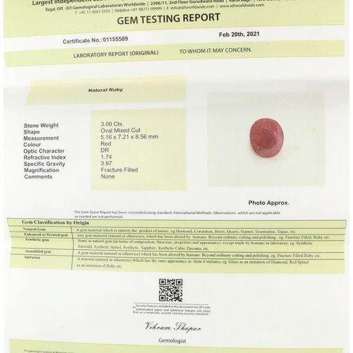 IDT Certified Natural Ruby Gemstone 3.00 ct. 切割。椭圆形混合,颜色:红色,重量:3.00克拉。(5.16 x 7.…