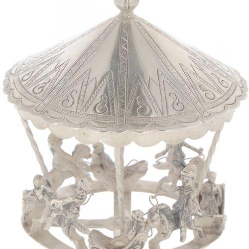Miniature carousel silver. Muy detallado. Países Bajos, siglo XX, sellos: ZII, Z…