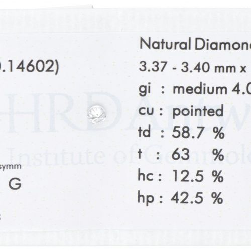 HRD Certified Brilliant Cut Natural Diamond 0.14 ct. Gewicht: 0,14 ct. (3,37 3,4…