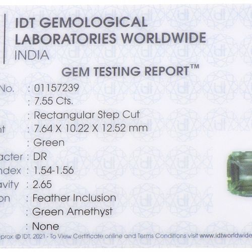 IDT Certified Natural Green Amethyst Gemstone 7.55 ct. Corte: Paso rectangular, …