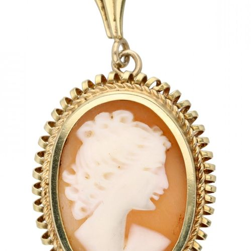 Cameo pendant in a 14K. Yellow gold frame with cord rim. LxA: 3,7 x 1,9 cm. Peso…