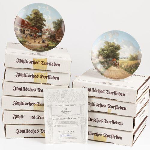 """Seltmann Weiden 10 plates from collection""""Idyllisches Dorfleben"""" complete. Null"""