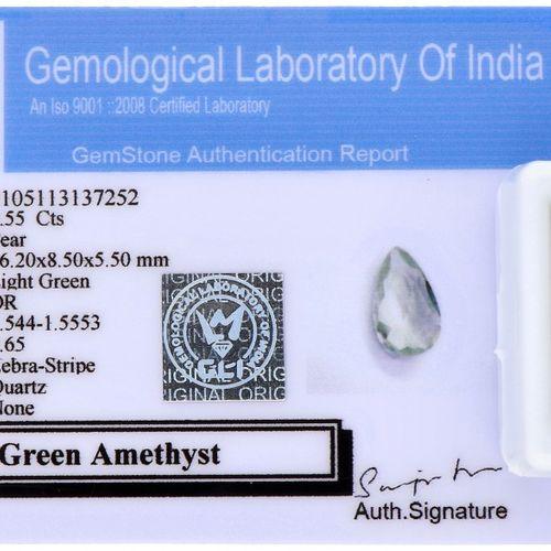 GLI Certified Natural Green Amethyst Gemstone 4.55 ct. Schliff: Birne, Farbe: He…