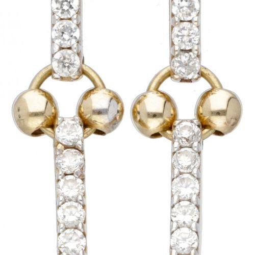 14K. Yellow gold earrings set with zirconia. Punzierungen: 585. LxB: 2,6 x 0,7 c…