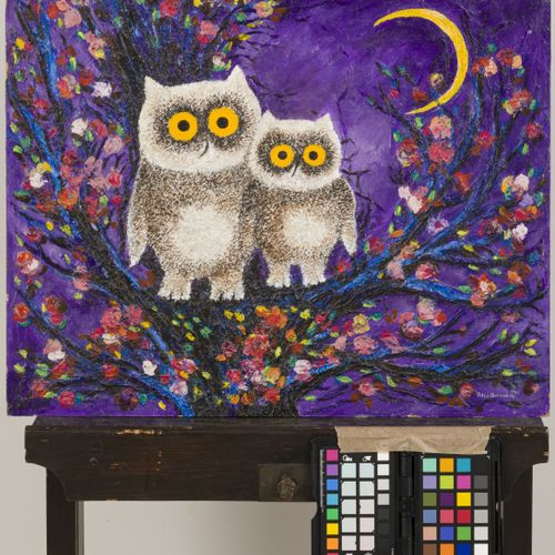 Bitia Rosendor (Jeruzalem ? 2013 Brussel, A collection of (3) paintings. Owls (2…
