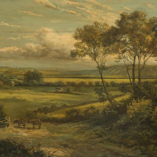 Flemmish School, 19th C. Cattle in a hilly landscape. 隐约有签名(右下),油画板。尺寸:54 x 72厘米…