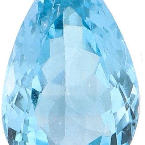 GLI Certified Natural Topaz Gemstone 7.60 ct Schliff: Birne, Farbe: Blau, Gewich…