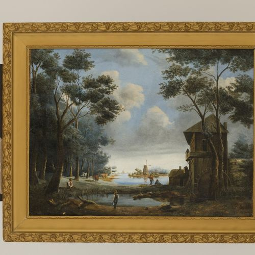 Attributed to J.F. Spohler. Figures on the waterfront by a watermill. Signée (en…