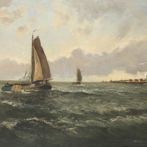 Dutch School, 20th C. A Dutch cargovessel in a stiff breese. Signée (en bas à dr…
