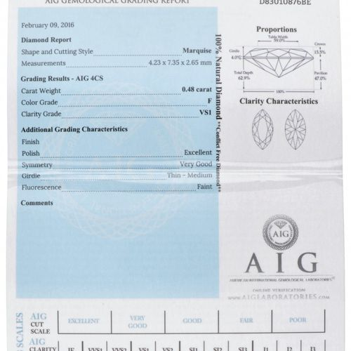 AIG Certified Marquise Cut Natural Diamond 0.48 ct. Peso: 0,48 quilates (4,23 x …