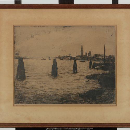 Toine Grosfeld, 20th Century, Harbourview Antwerp. Signé, daté '23 4 40', et ins…